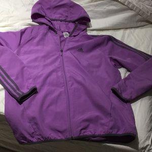 Adidas L lilac grey lightweight full zip hood